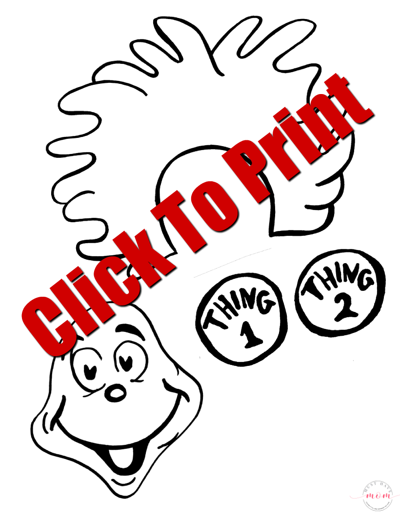 Thing 1 & Thing 2 Puppets Dr. Seuss Crafts W/free Printable - Thing 1 And Thing 2 Free Printable Template