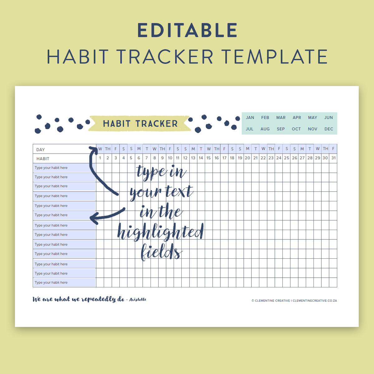 This Free Printable Habit Tracker Will Help You Reach Your Goals - Habit Tracker Free Printable