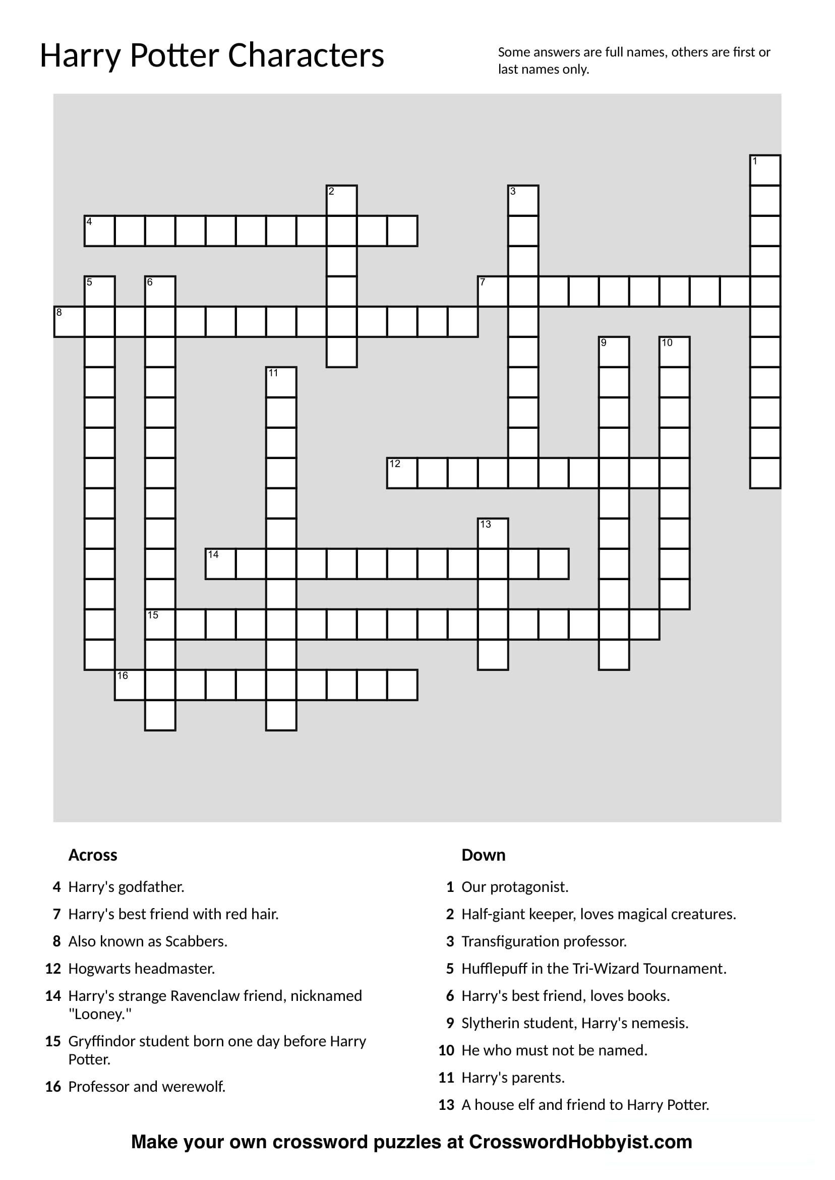 This Harry Potter Characters Crossword Puzzle Was Made At - Free Make Your Own Crosswords Printable