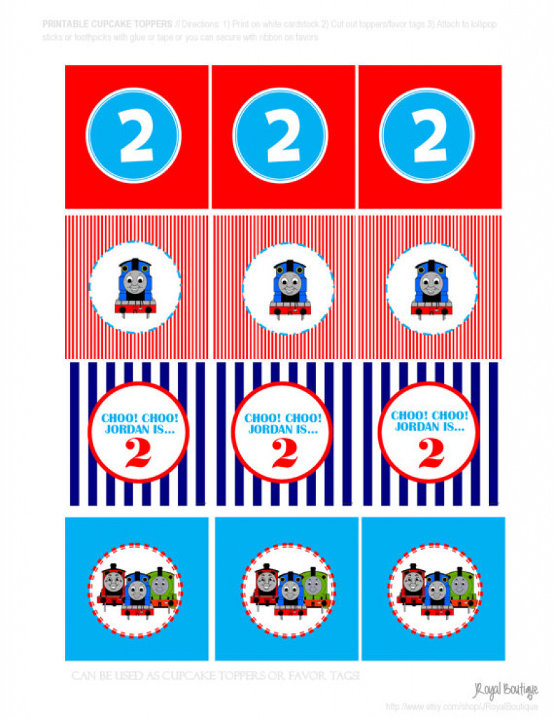 Thomas The Train Printable - Diy Customized Cupcake Toppers Favor - Free Printable Train Cupcake Toppers
