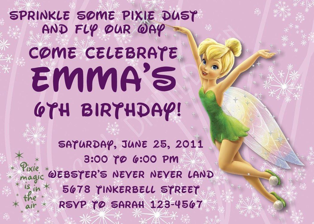 Tinkerbell Birthday Invitations Customizable Printable | Etsy - Free Tinkerbell Printable Birthday Invitations