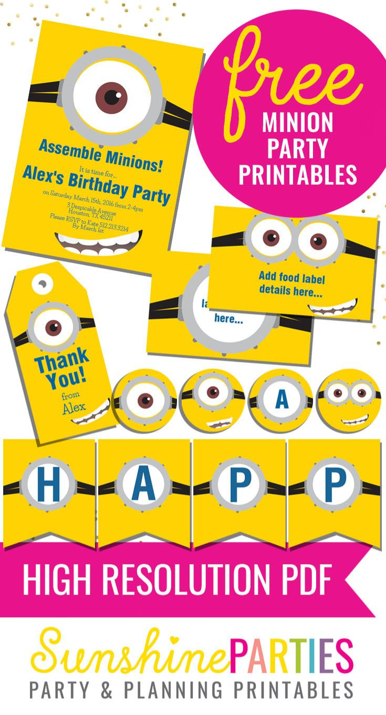 Totally Free Minions Party Printables Set | Minions Birthday Party - Thanks A Minion Free Printable