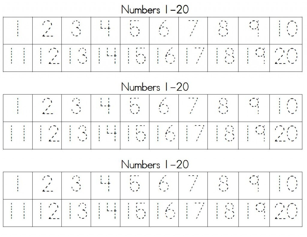 Trace Numbers 1 20   Kiddo Shelter - Free Printable Numbers 1 20 Worksheets