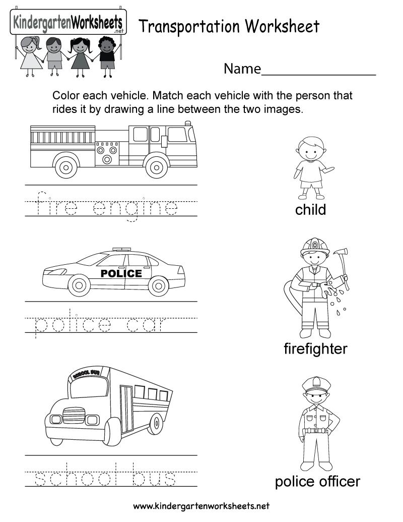 Transportation Worksheet - Free Kindergarten Learning Worksheet For Kids - Free Printable Transportation Worksheets For Kids