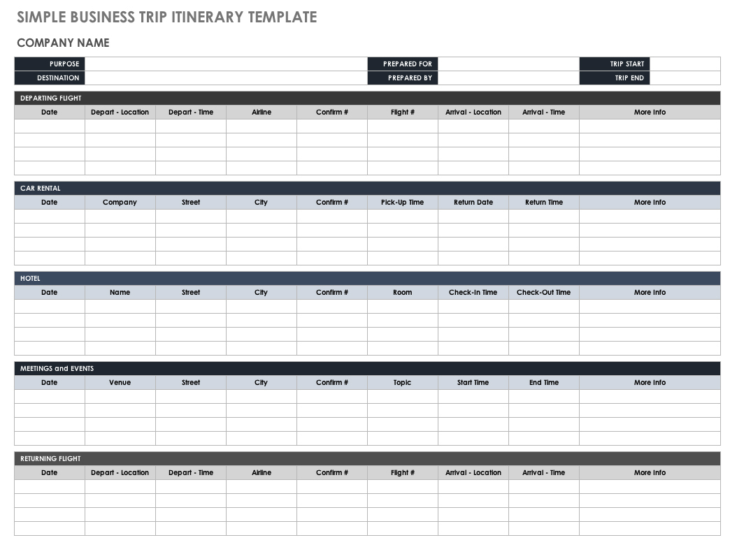 Travel Itinerary Template 2018 Templates Free Itinerary Templates - Free Printable Itinerary