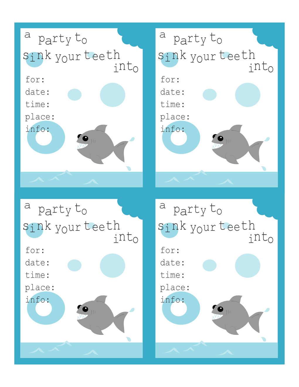 Tricia-Rennea, Illustrator: Shark Invitations And Thank You Notes - Shark Invitations Free Printable