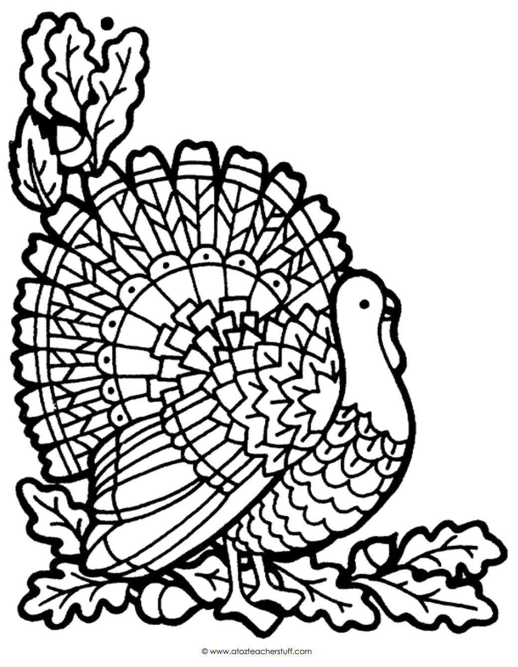 Turkey Coloring Page   A To Z Teacher Stuff Printable Pages And - Free Printable Pictures Of Turkeys To Color