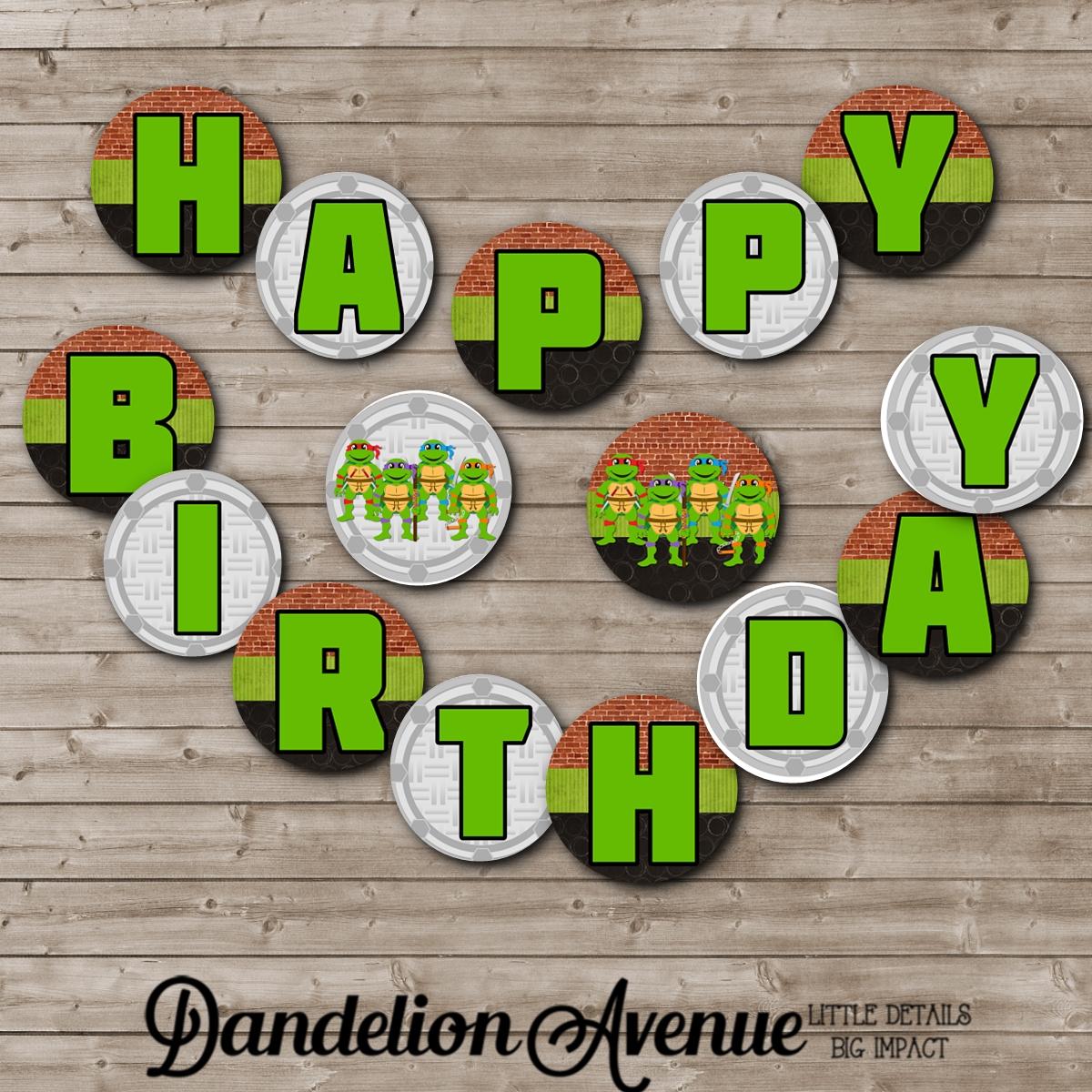 Turtle Ninja Birthday Printable Banner | Dandelion Avenue - Free Printable Ninja Turtle Birthday Banner