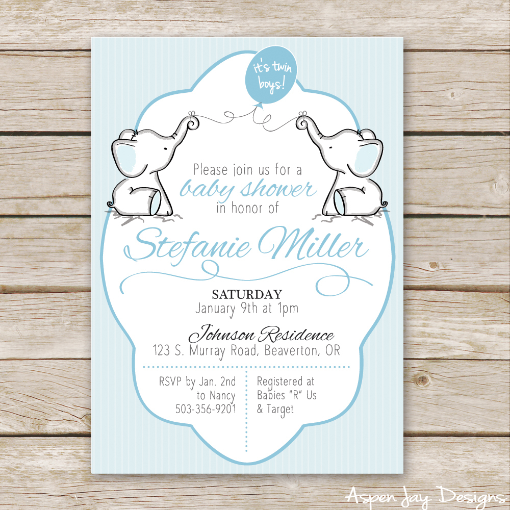 Twin Elephant Baby Shower Guest Book Printable - Aspen Jay - Free Printable Twin Baby Shower Invitations