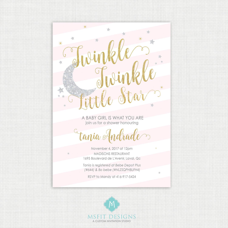 Twinkle Twinkle Little Star Baby Shower Invitations - Twinkle Invitation - Free Printable Twinkle Twinkle Little Star Baby Shower Invitations