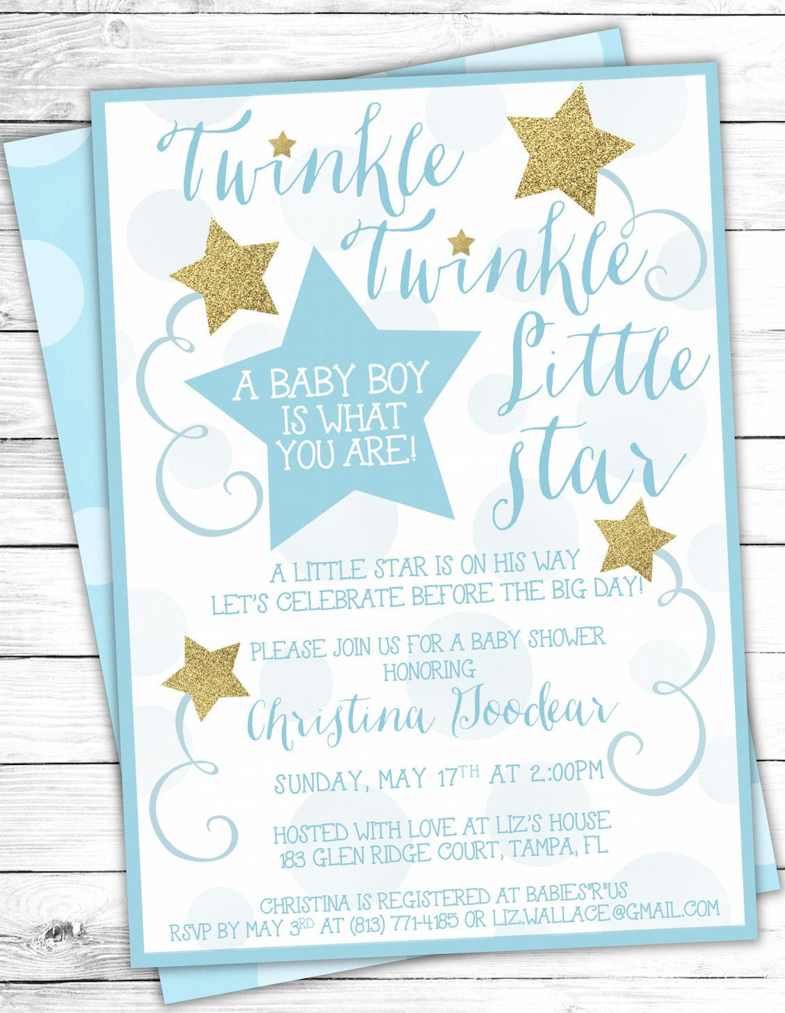 Twinkle Twinkle Little Star Party Theme Planning, Ideas & Supplies - Free Printable Twinkle Twinkle Little Star Baby Shower Invitations