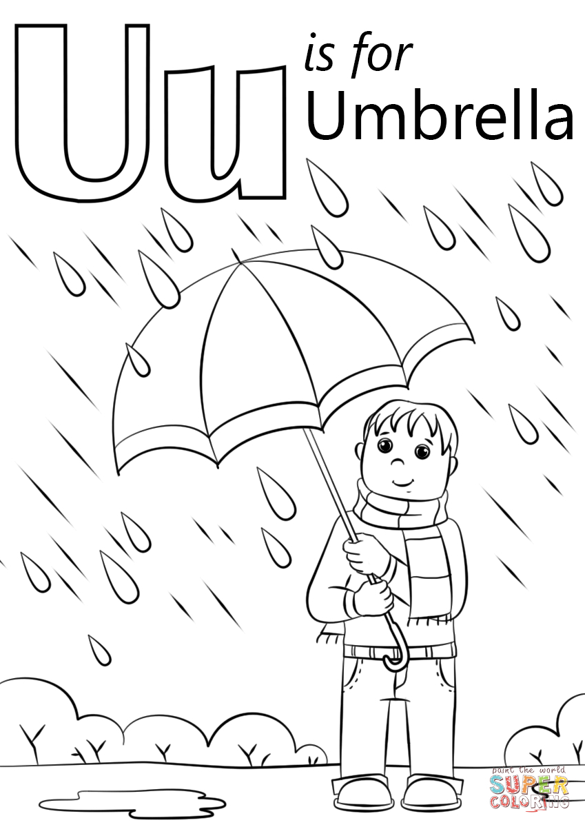 U Is For Umbrella Coloring Page   Free Printable Coloring Pages - Free Printable Letter U Coloring Pages