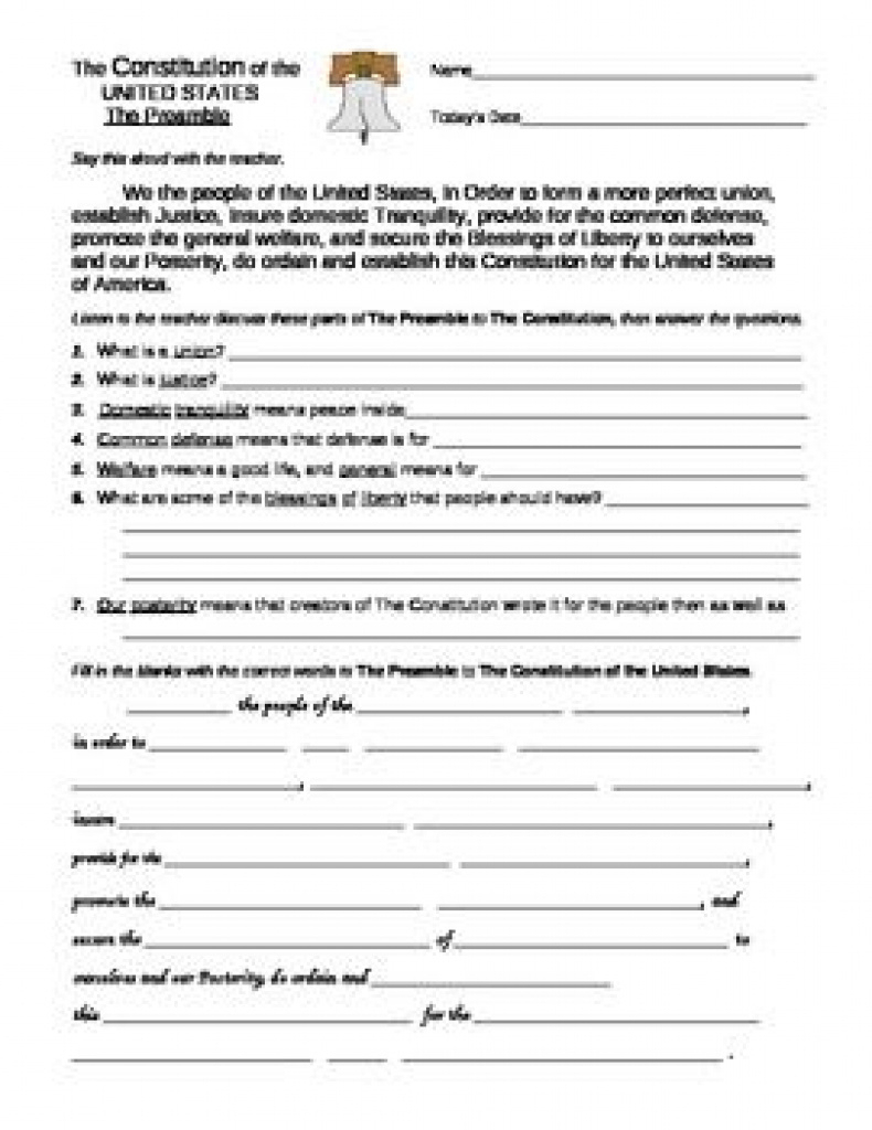 U. S. Constitution: Preamble And Bill Of Rights Worksheets With Free - Free Printable Us Constitution Worksheets