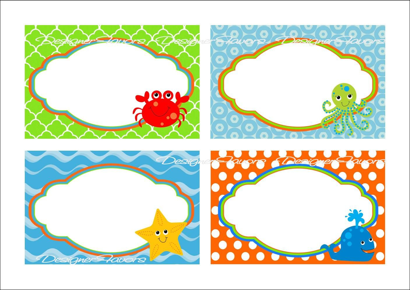 Under The Sea Food Labels Free Printable Tags - Imagestack | Graduation - Free Printable Food Labels