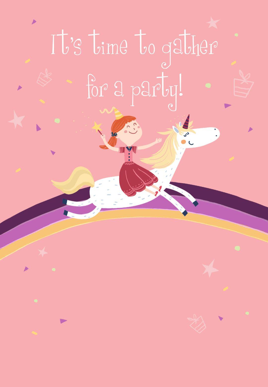 Unicorn - Free Printable Birthday Invitation Template | Greetings - Free Printable Unicorn Birthday Invitations