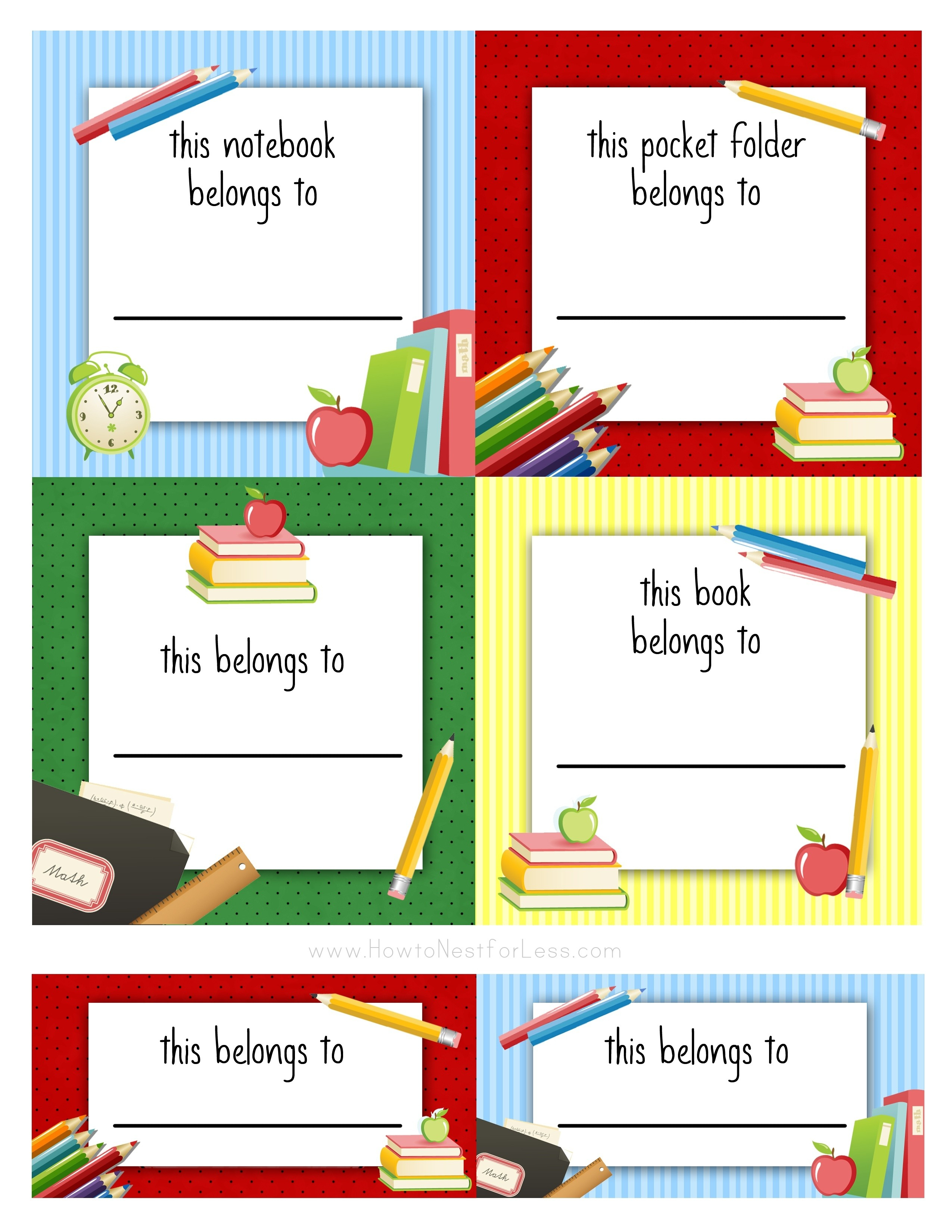 Unique Name Labels For School Books Templates   Www.pantry-Magic - Free Printable File Folder Labels