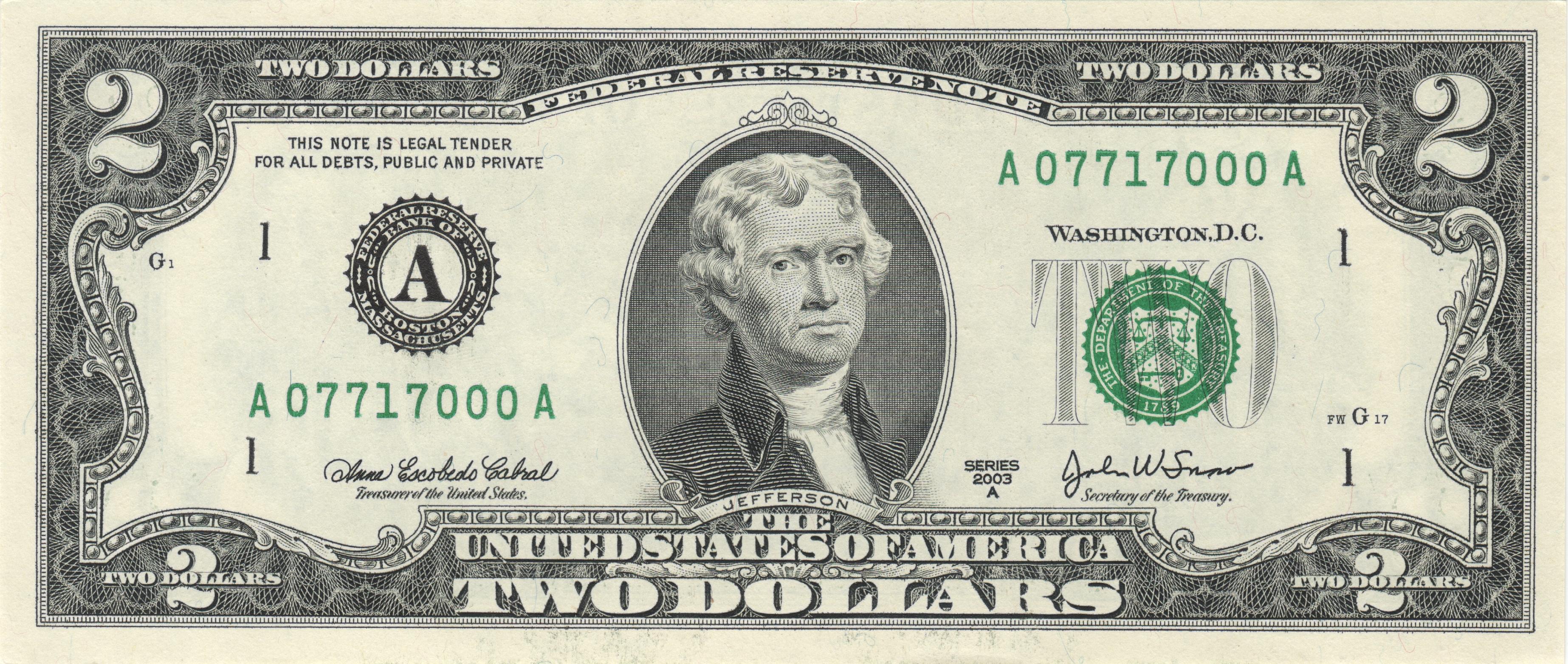 United States Two-Dollar Bill - Wikipedia - Free Printable Million Dollar Bill