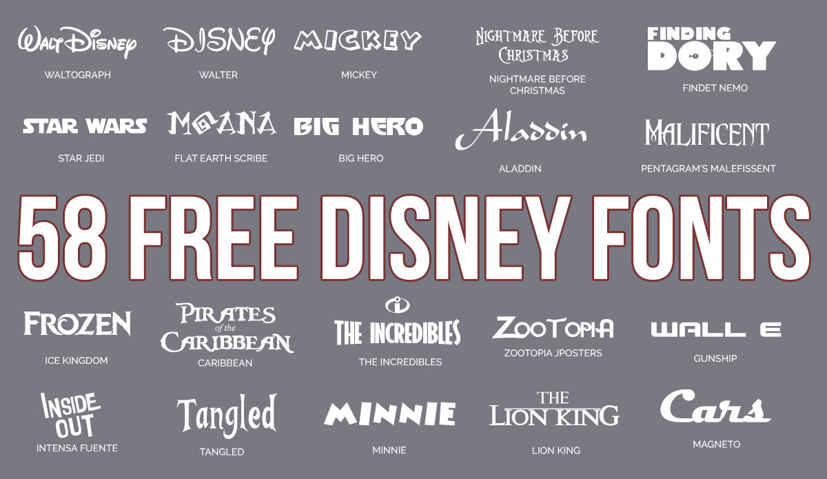 Updated: 59 Free Disney Fonts (March 2019 Edition) - Free Printable Disney Font Stencils