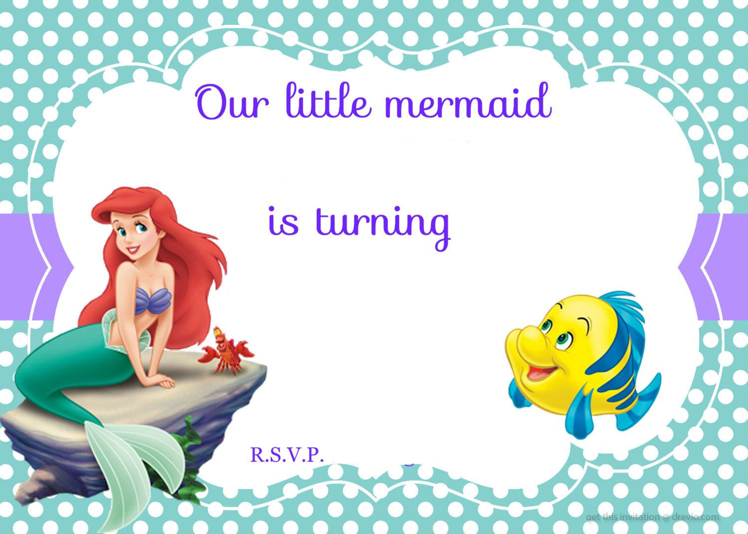 Updated! Free Printable Ariel The Little Mermaid Invitation - Free Little Mermaid Printable Invitations