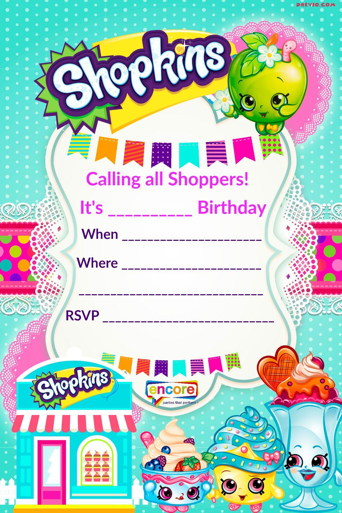 Updated - Free Printable Shopkins Birthday Invitation | Free - Free Printable Birthday Invitation Templates