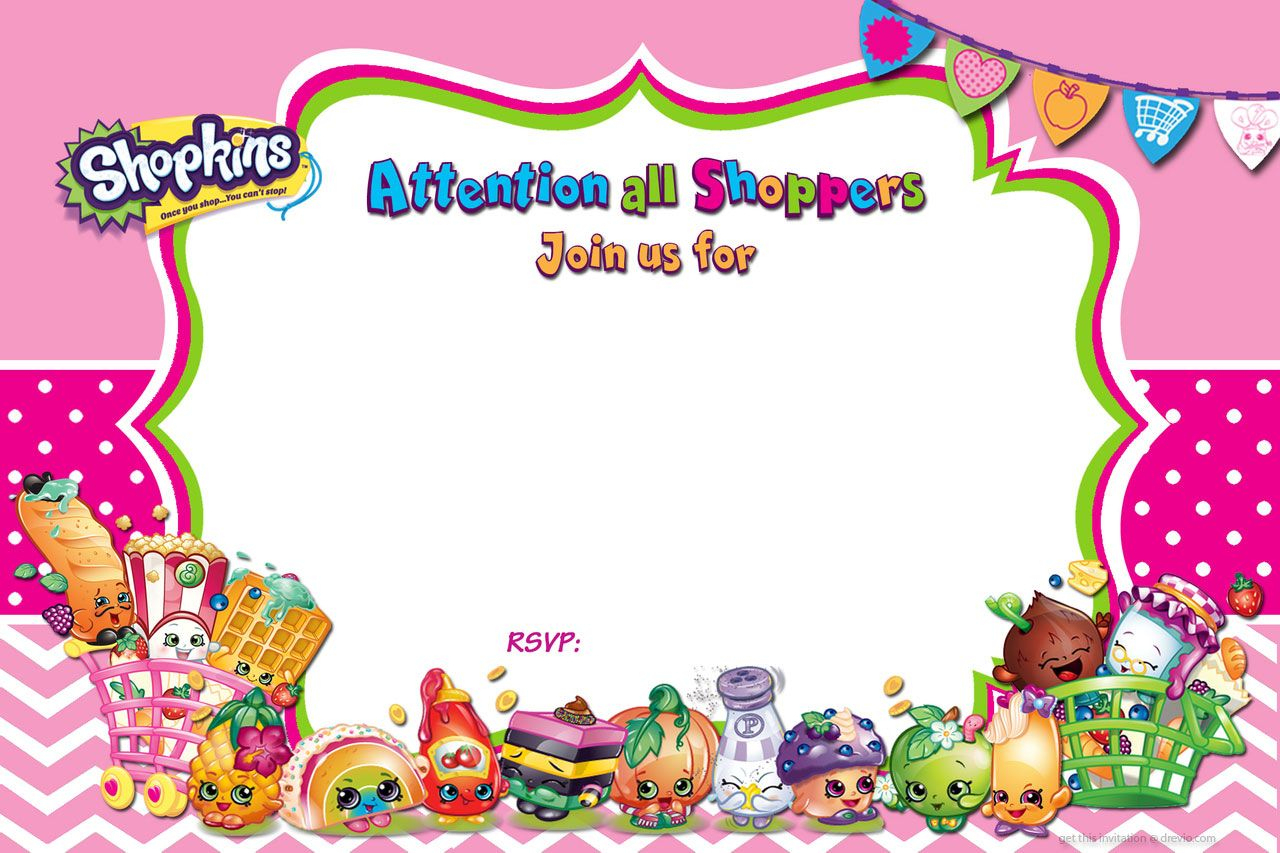 Updated - Free Printable Shopkins Birthday Invitation | Free - Free Printable Shopkins Thank You Cards