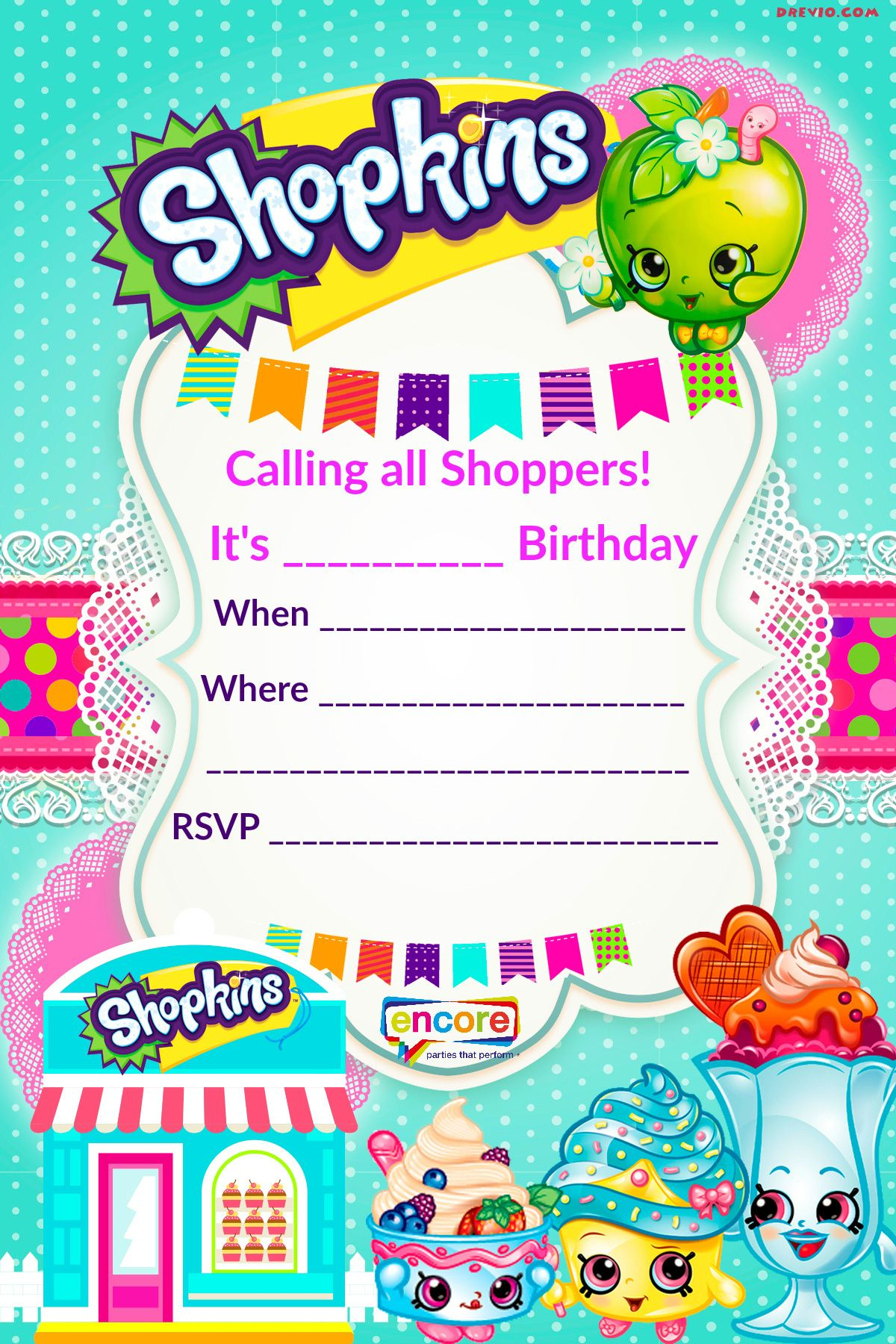 Updated – Free Printable Shopkins Birthday Invitation Template - Free Printable Shopkins Invitations