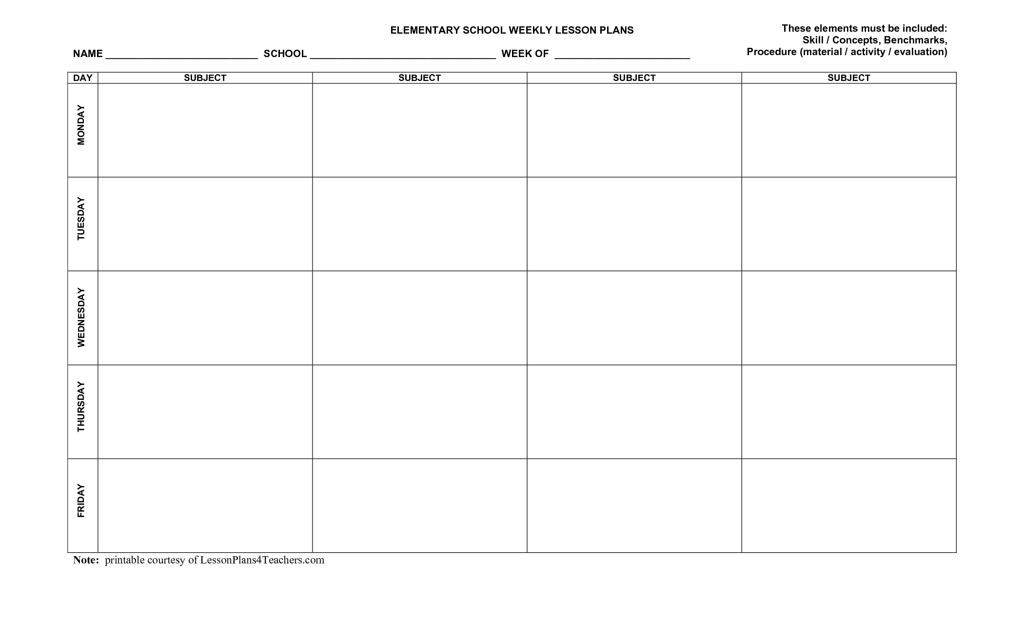 Use This Blank 8-Part Lesson Plan Template Every Time That You Need - Free Printable Blank Lesson Plan Pages