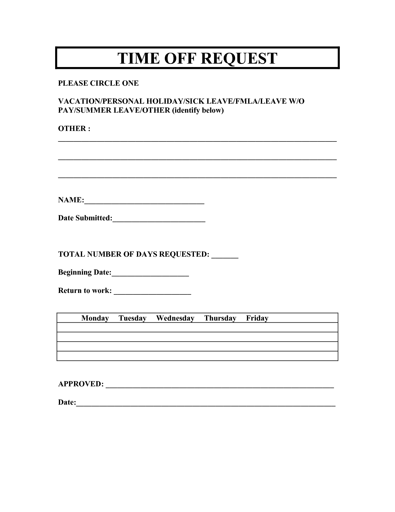 Vacation Request Forms 2014 Free Printable | Printable Request For - Free Printable Hr Forms
