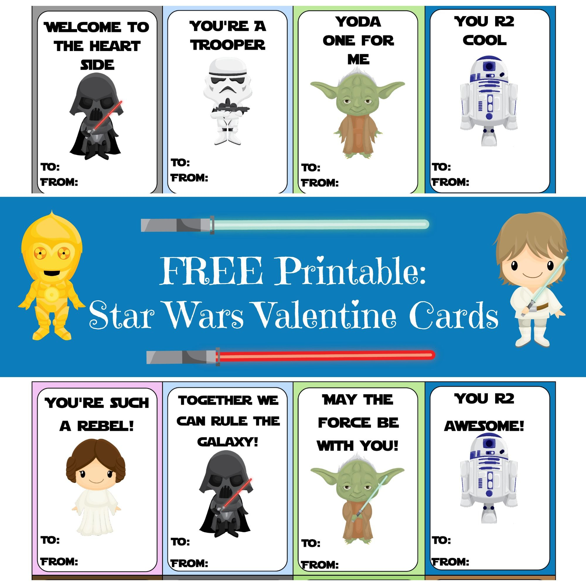 Valentine Card Round-Up | Printables | Valentines, Starwars - Free Printable Lego Star Wars Valentines