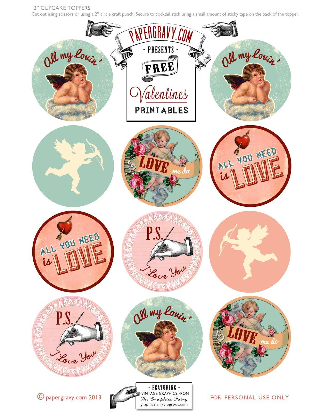 Valentine Printables - Labels - Flags - Cupcake Toppers | Toppers - Free Printable Valentine Graphics