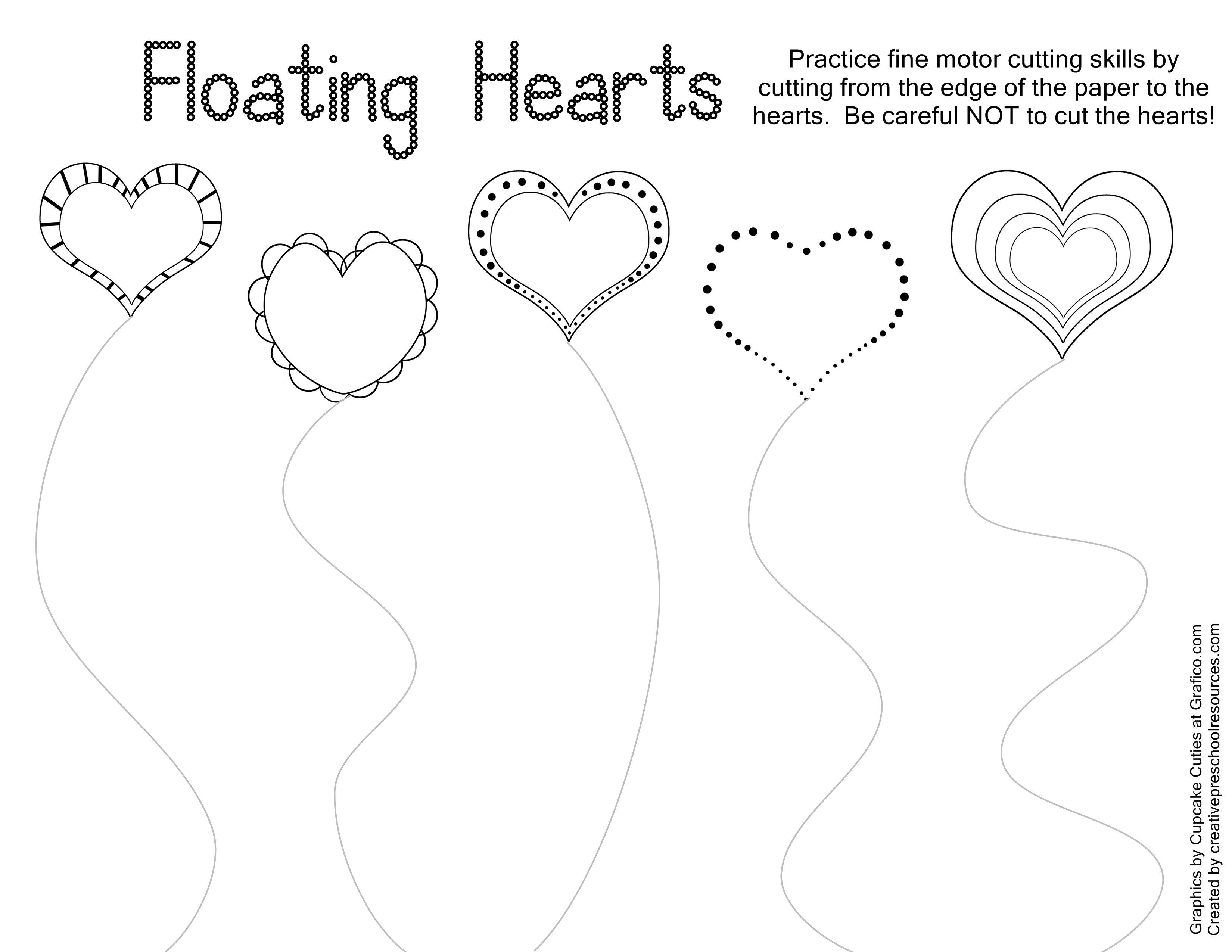 Valentine Trace & Cut Printables   Kids Stuffs   Pinterest   Cutting - Free Printable Preschool Valentine Worksheets