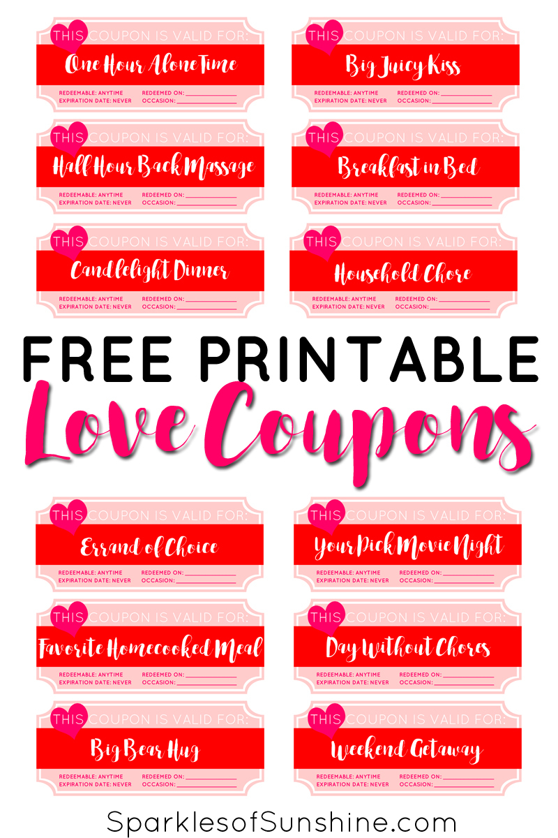 Valentine's Day Free Printable Love Coupons - Sparkles Of Sunshine - Free Printable Love Coupons