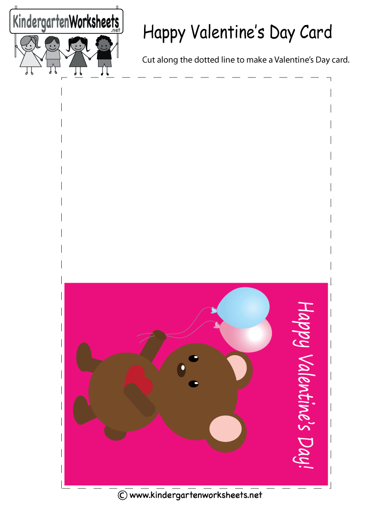 Valentine's Day Greeting Card - Free Kindergarten Holiday Worksheet - Free Printable Teacher's Day Greeting Cards