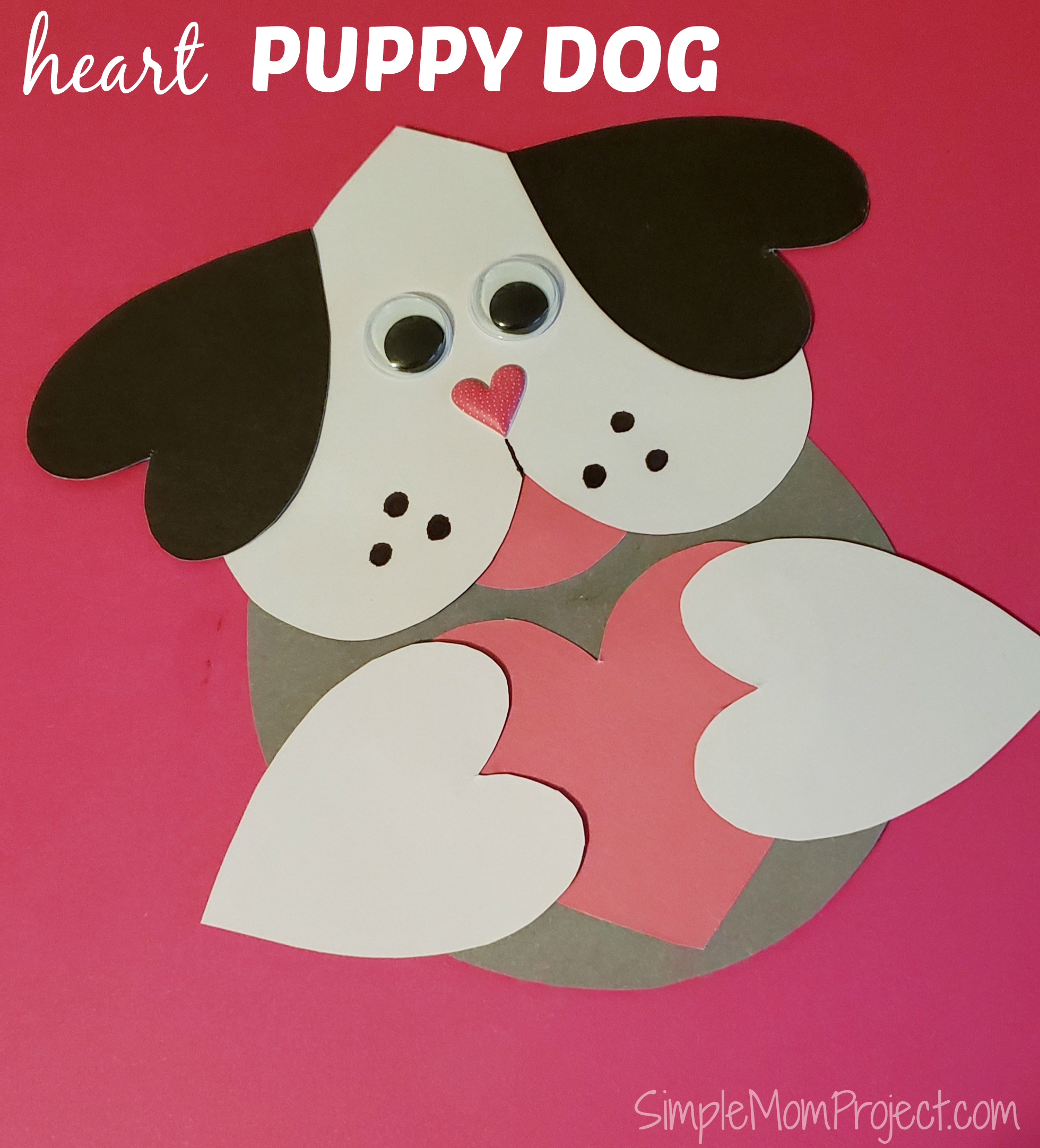 Valentine's Day Puppy Dog Card With Free Printable Template - Simple - Free Printable Mothers Day Cards From The Dog
