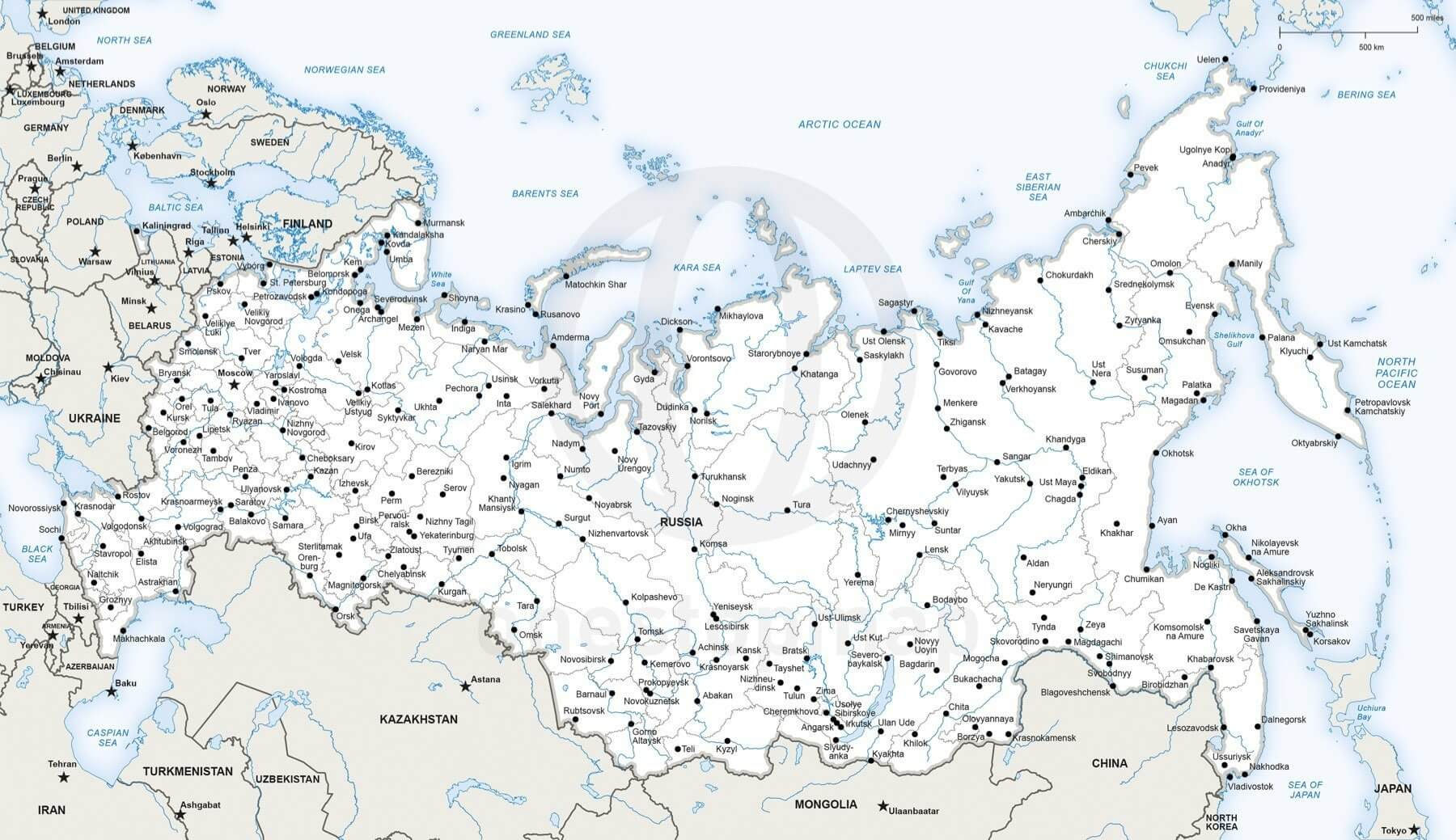 Vector Map Of Russia Political | One Stop Map - Free Printable Map Of Russia