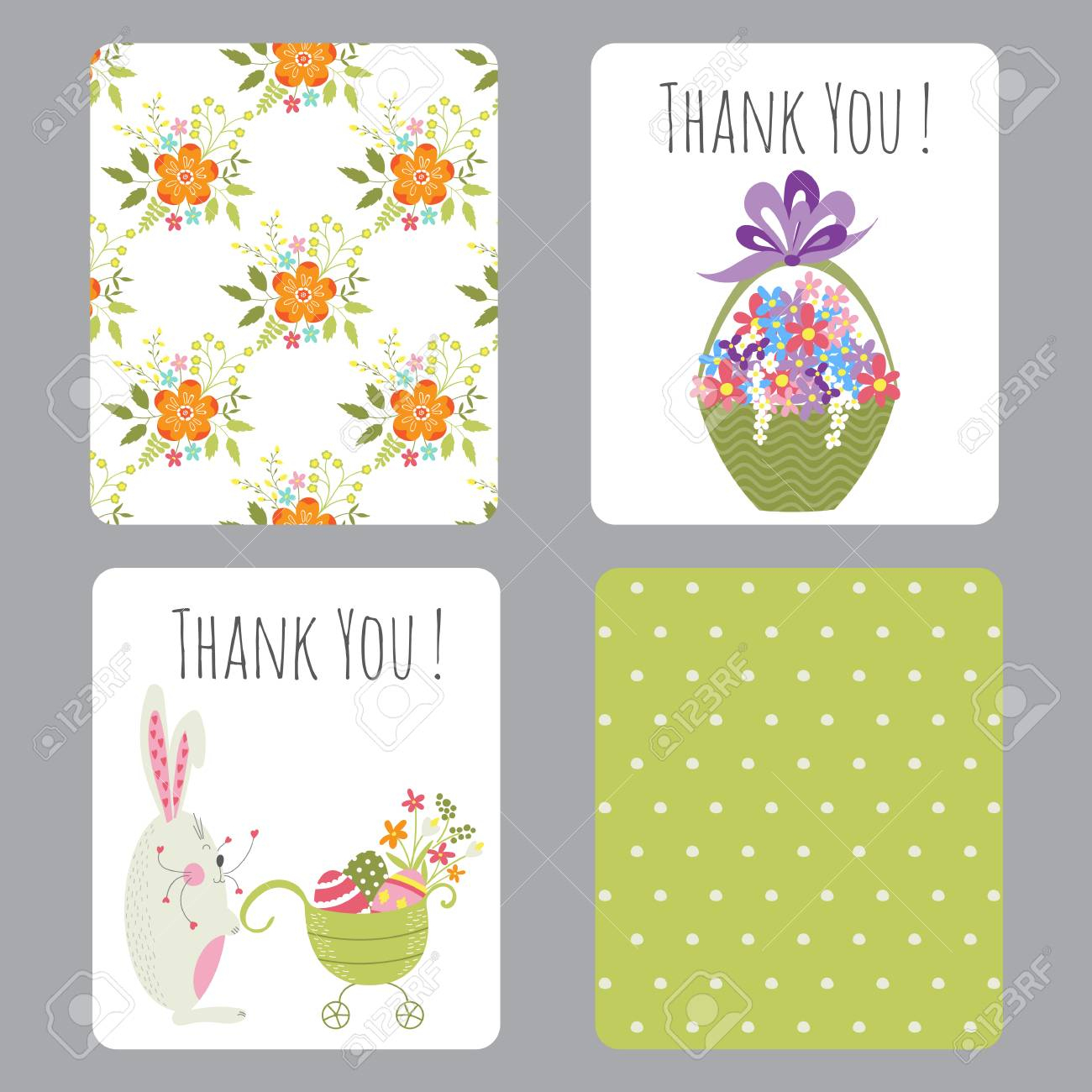 Vector Set Of Easter Small Cards With Funny Bunnies And Flowers - Printable Easter Greeting Cards Free