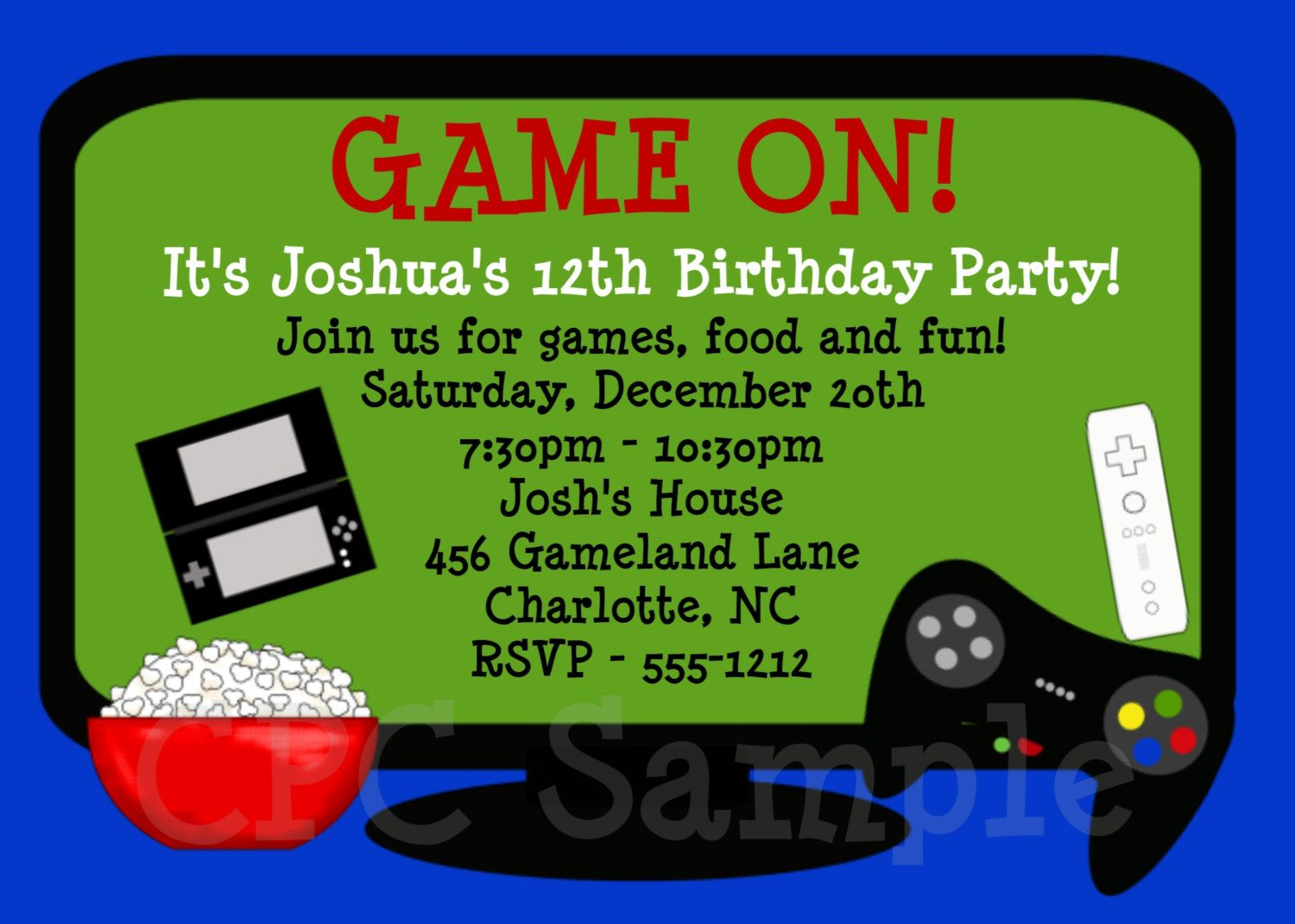 Video Games Birthday Invitation | Tuck's Birthday | Pinterest - Free Printable Video Game Party Invitations