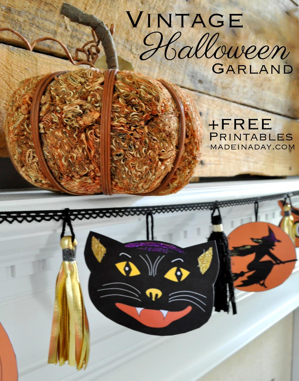Vintage Halloween Printable Garland - Free Printable Vintage Halloween Images