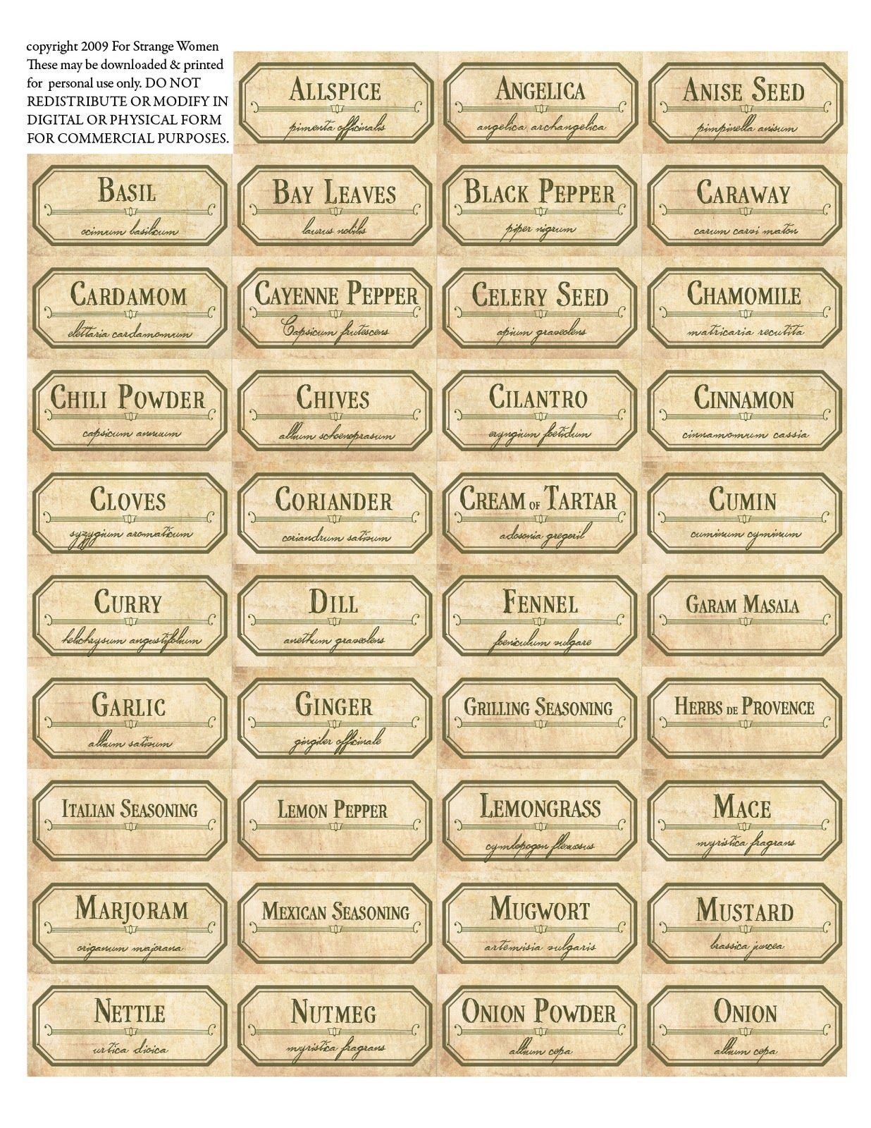 Vintage Spice Jar Labels. Free Printable Label Templates. | Spice - Free Printable Old Fashioned Labels