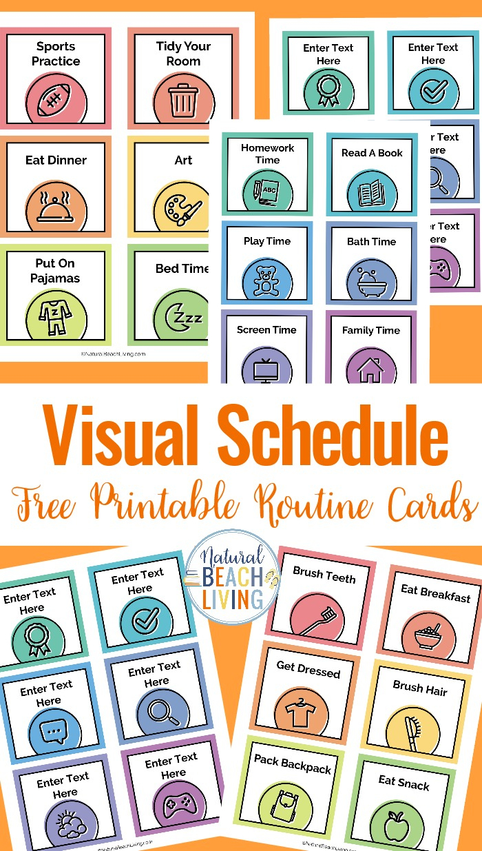 Visual Schedule - Free Printable Routine Cards - Natural Beach Living - Free Printable Daily Routine Picture Cards