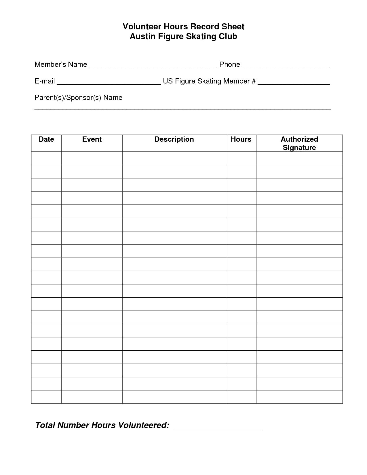 Volunteer Hours Log Sheet Template | Spreedsheets | Pinterest - Free Printable Community Service Log Sheet