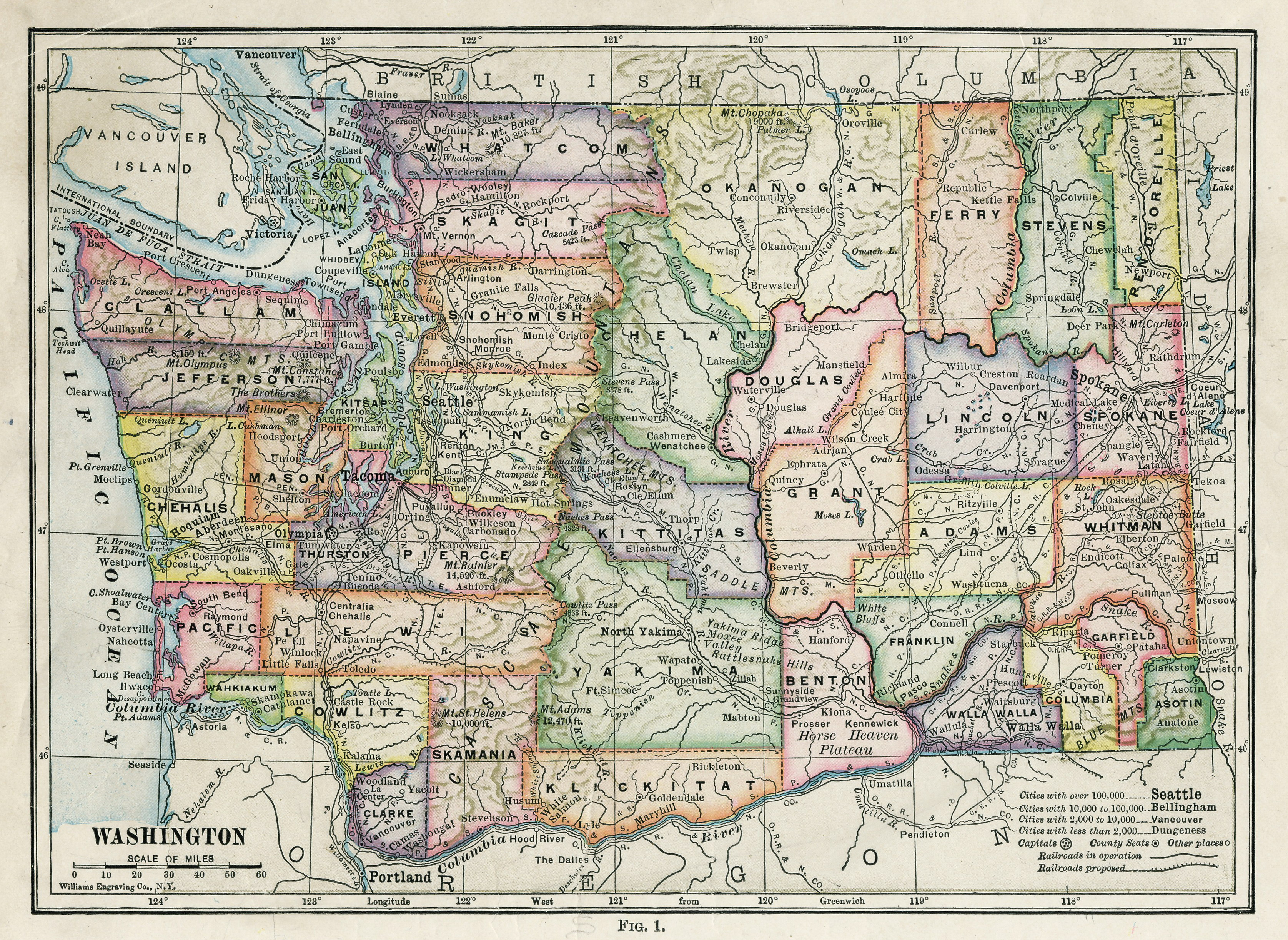 Washington State County Maps And Travel Information | Download Free - Free Printable Map Of Washington State