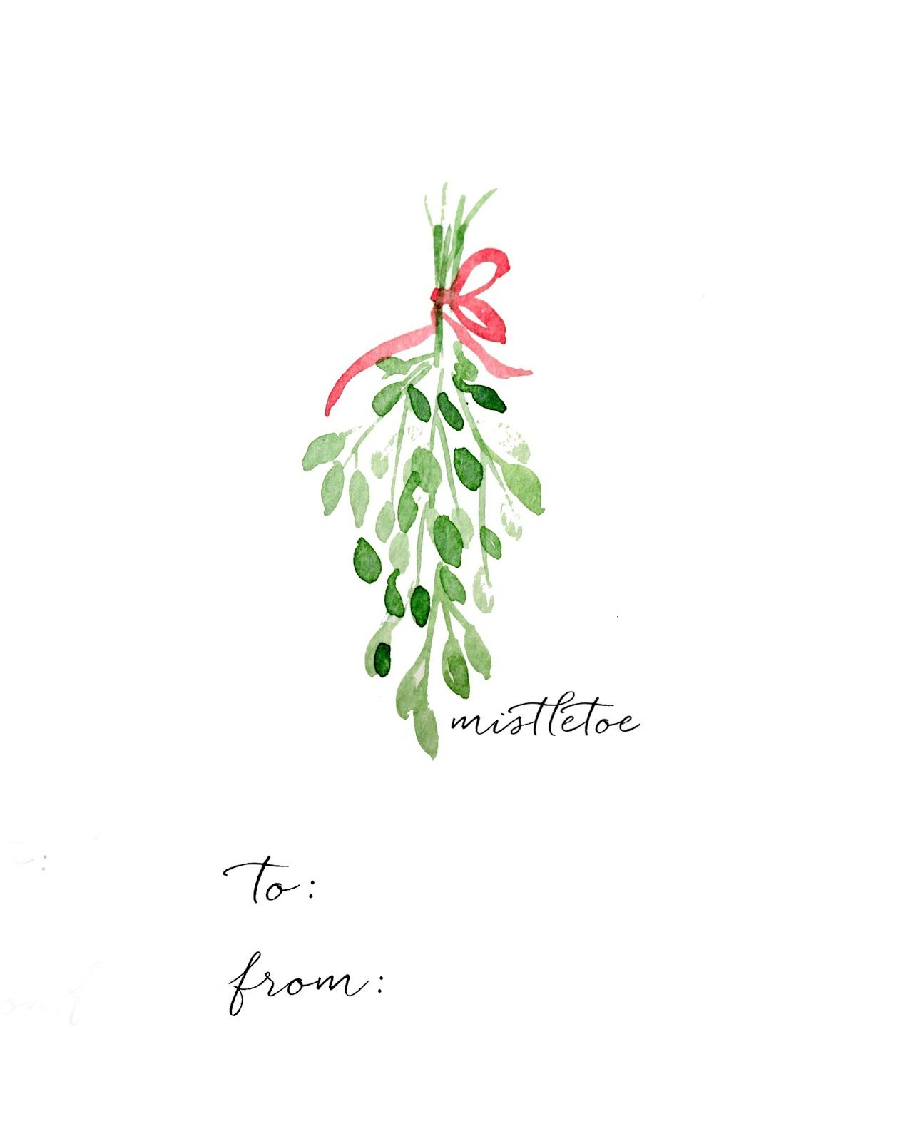Watercolor Christmas Gift Tag Diy And Free Printables | Images De - Free Printable Mistletoe Tags