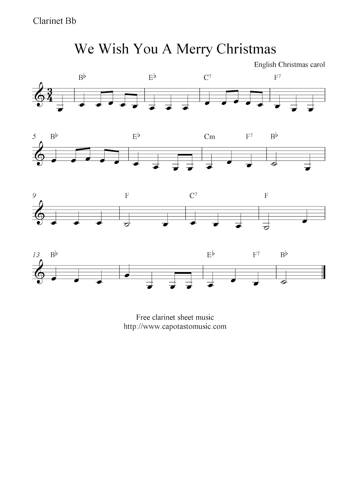 We Wish You A Merry Christmas, Free Christmas Clarinet Sheet Music Notes - Free Printable Christmas Sheet Music For Clarinet