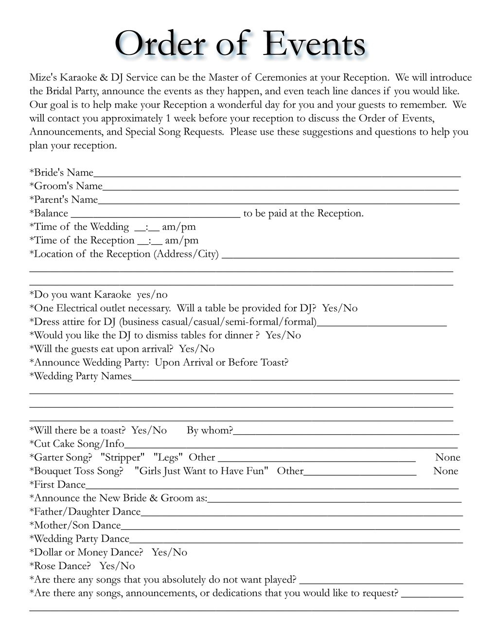 Wedding Itinerary Templates Free   Wedding Template   Mobile Dj - Free Printable Wedding Party List
