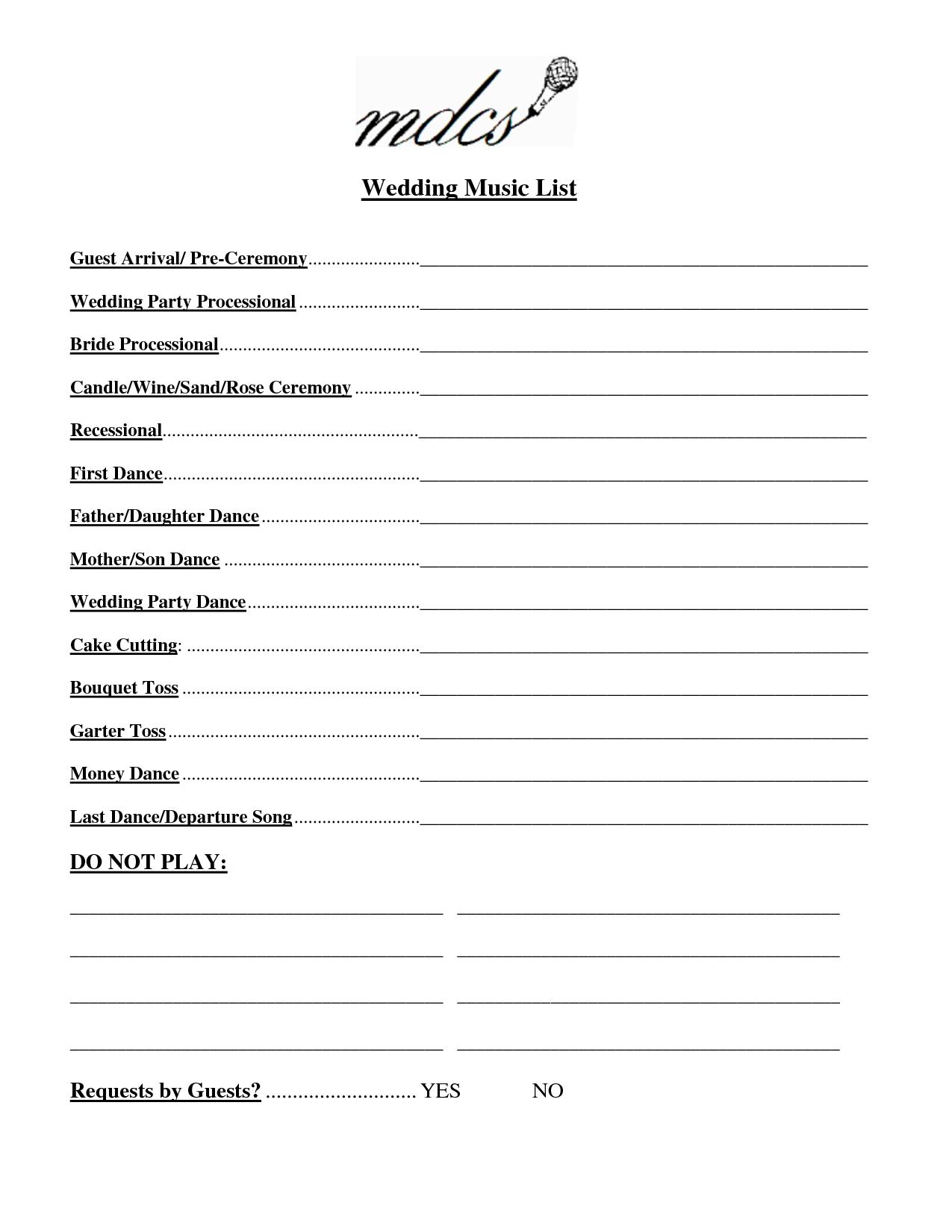 Wedding Party List Template Free   Fosterhaley Wedding Music List - Free Printable Wedding Party List