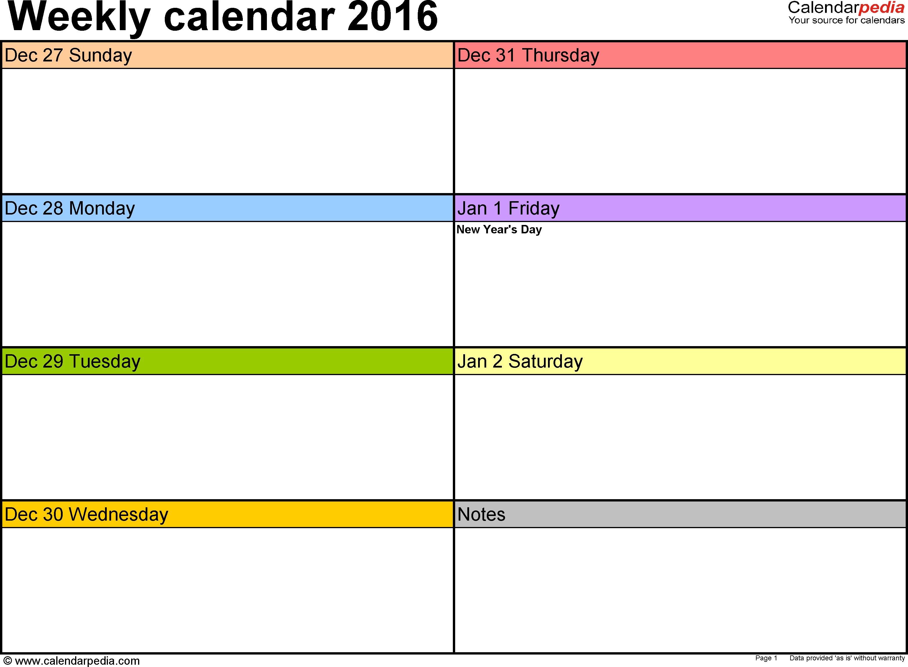 Weekly Calendar 2016 For Pdf - 12 Free Printable Templates - Free Printable Pocket Planner 2016