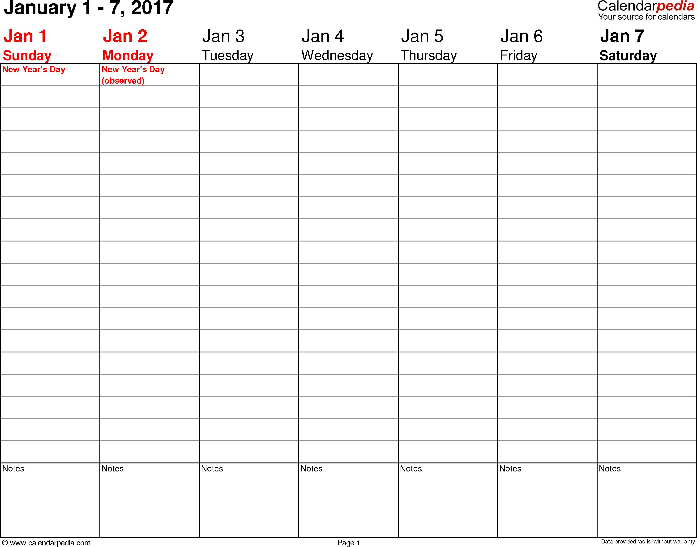 Weekly Calendar 2017 For Word - 12 Free Printable Templates - Free Printable Weekly Planner 2017