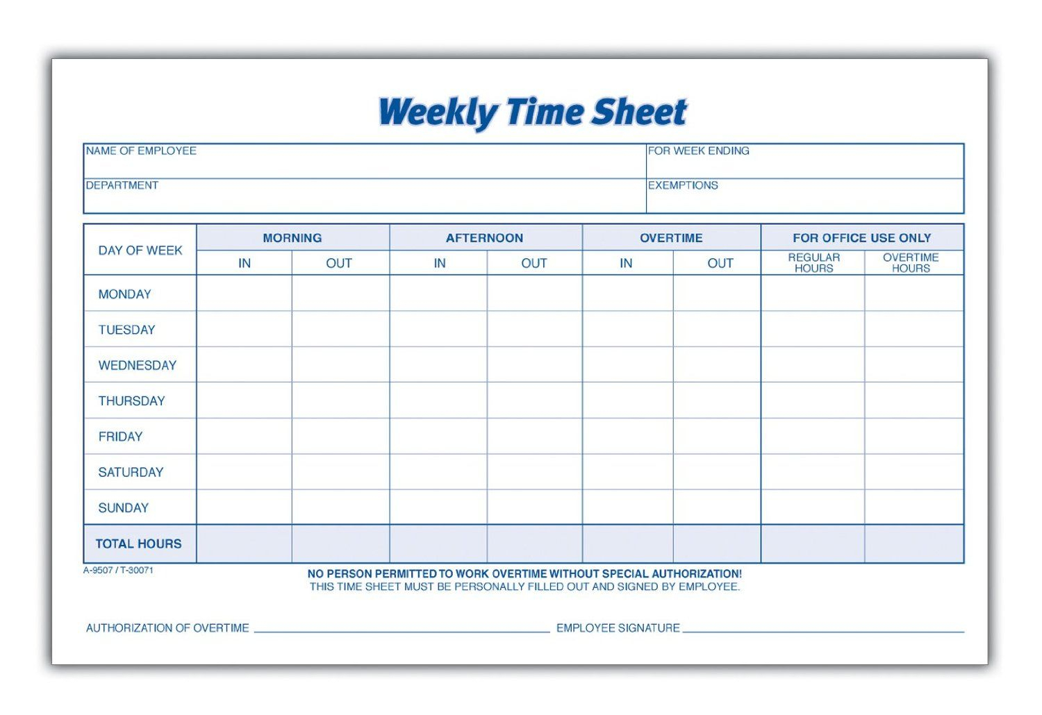 Weekly Employee Time Sheet | Good To Know | Pinterest | Timesheet - Free Printable Time Sheets Pdf