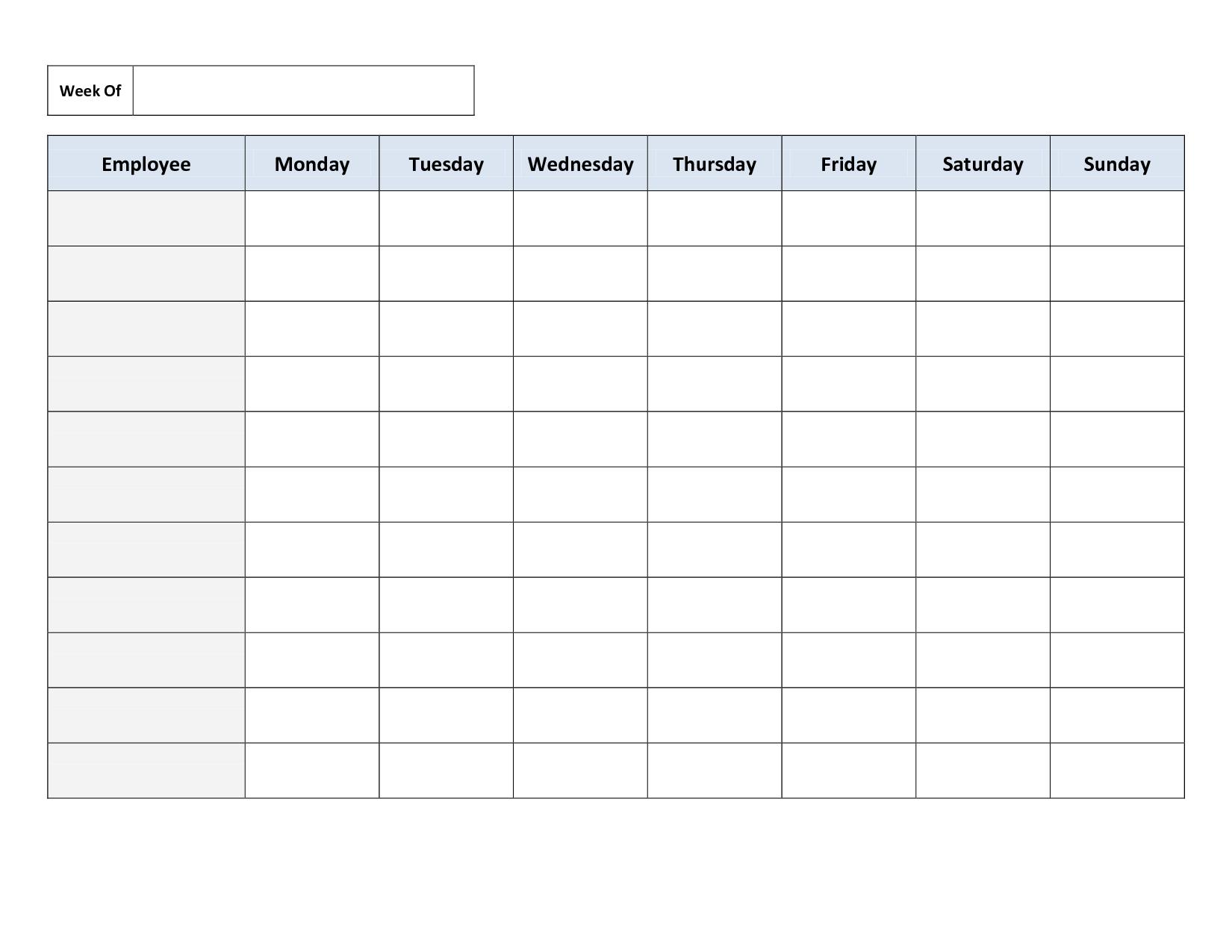 Weekly Employee Work Schedule Template. Free Blank Schedule.pdf - Free Printable Weekly Schedule